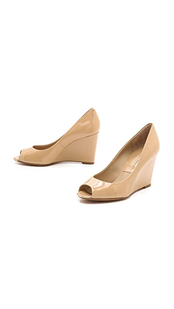 Michael Kors Collection Valari Patent Peep Toe Wedges