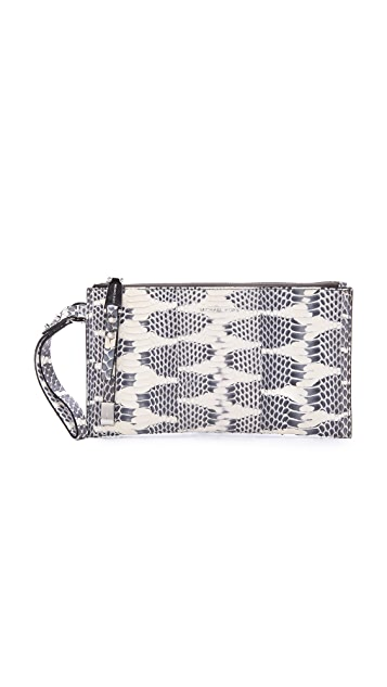 Michael Kors Collection Miranda Zip Snakeskin Clutch