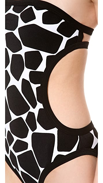Michael Kors Collection Giraffe Print Bandeau Maillot