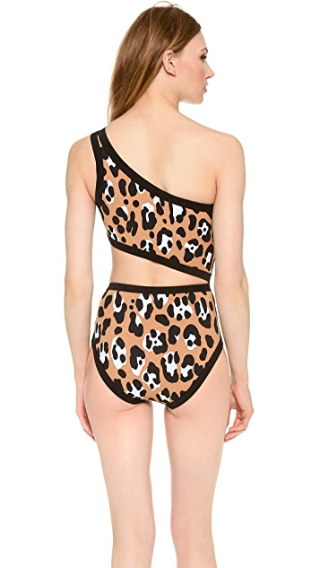 Michael Kors Collection Leopard One Shoulder Maillot