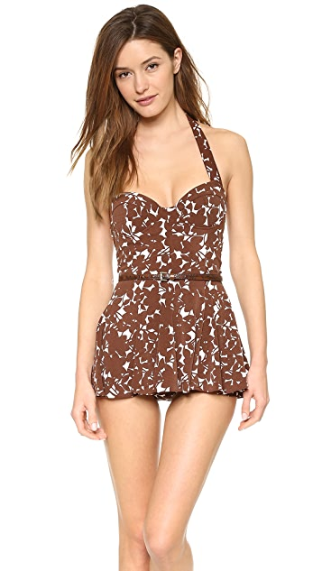 Michael Kors Collection Floral Print Swimdress Maillot