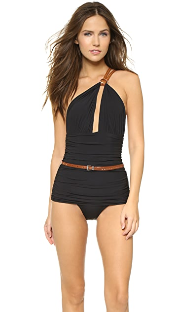 Michael Kors Collection One Shoulder Maillot