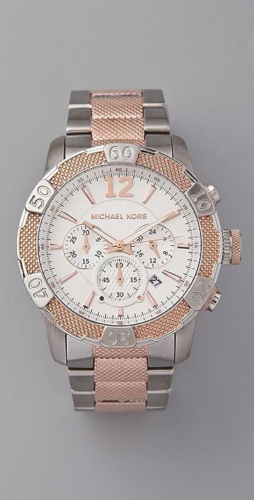 Michael Kors Oversized Rock Top Two Tone Watch