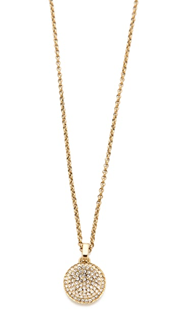 charm gold off hot shop michael rose steel deals pendant double crystal row kors tone necklace stainless