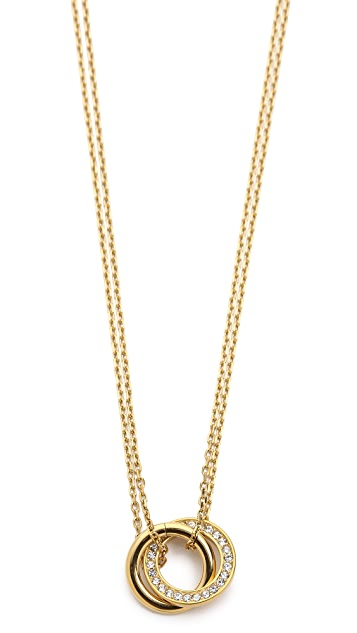 Michael Kors Pave Pendant Rings Necklace