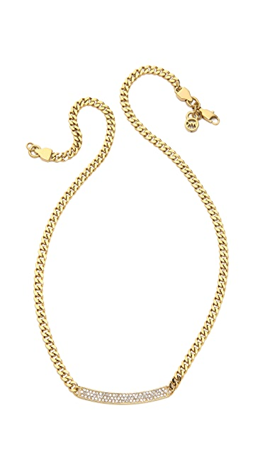 Michael Kors Logo Plaque Pave Necklace