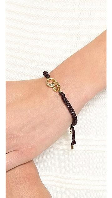 Michael Kors Pave & Baguette Link Charm Braided Silk Cord Bracelet