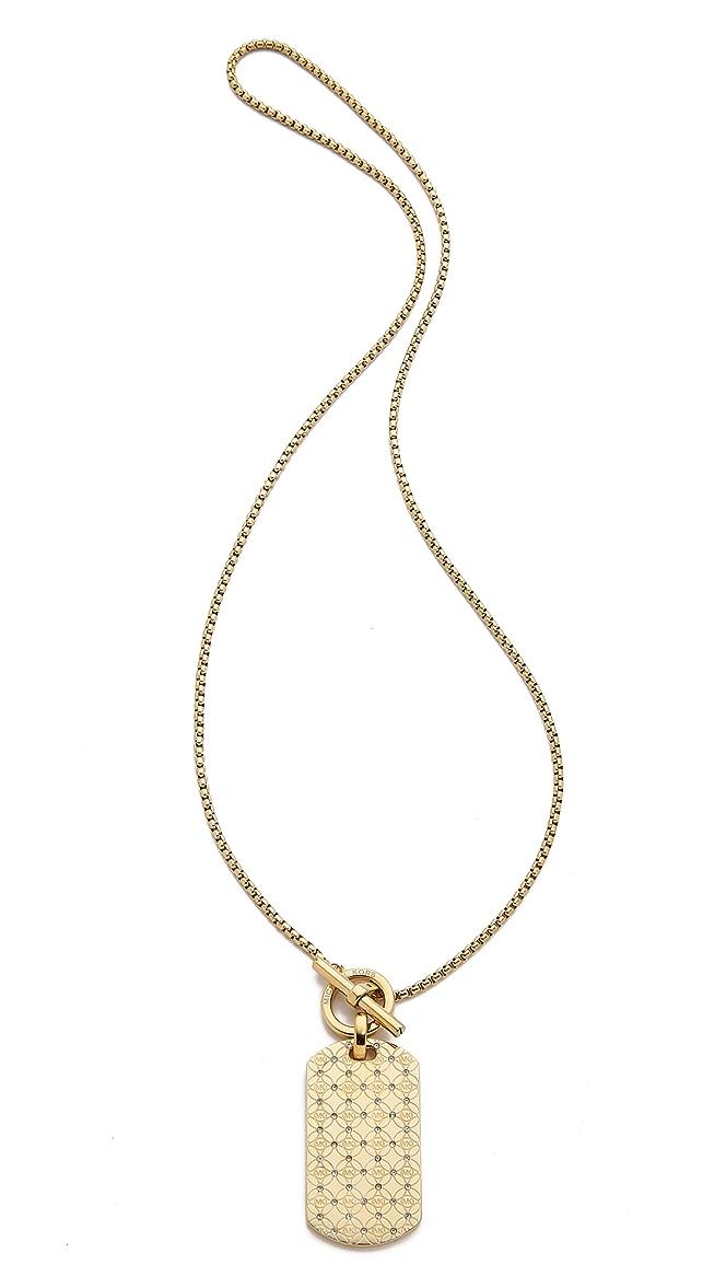 MK Monogram Dog Tag Necklace