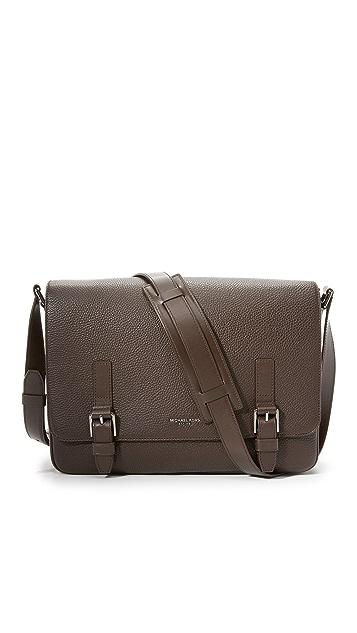 Michael Kors Bryant Pebbled Leather Large Messenger Bag