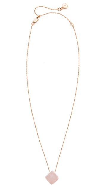 Michael Kors Rose Quartz Pyramid Pendant Necklace