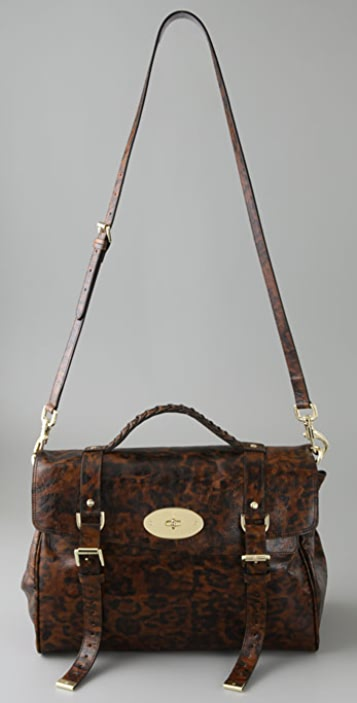 Mulberry Oversized Shiny Leopard Alexa Tote