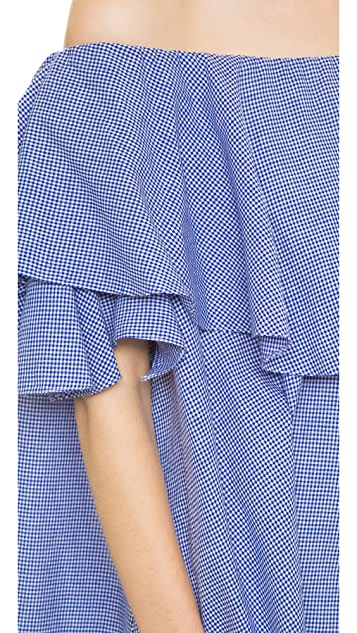 MLM LABEL Maison Off Shoulder Gingham Dress