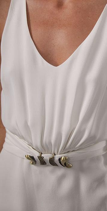 Madison Marcus Gilt V Neck Dress with Belt