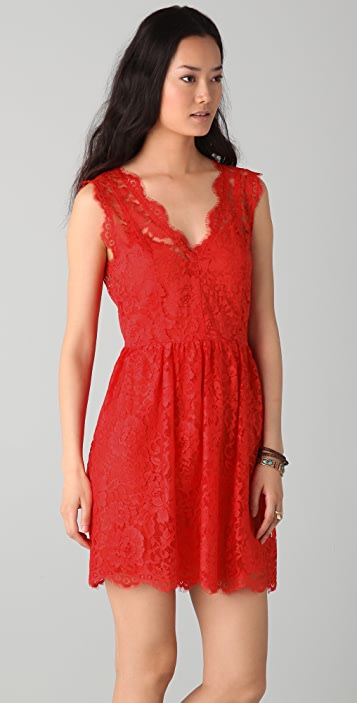 Madison Marcus Lace V Back Dress