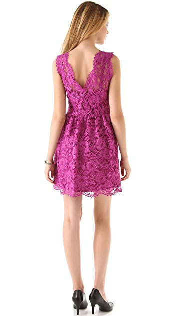 Madison Marcus V Neck Lace Dress