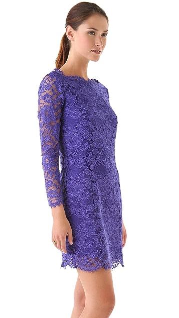 Madison Marcus Deep V Back Lace Dress