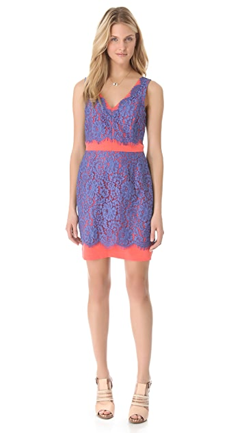Madison Marcus Still V Neck Lace Dress