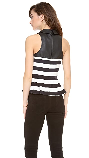 Madison Marcus Rival Striped Peplum Top