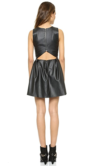 Madison Marcus Faux Leather Groove Cutout Dress