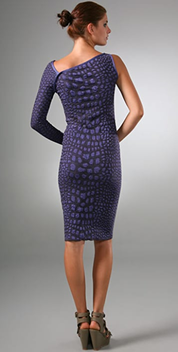 M Missoni Crocodile Intarsia One Shoulder Dress