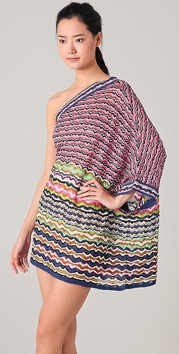 M Missoni Lace Stripe One Shoulder Dress
