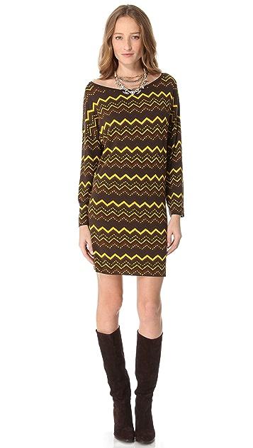 M Missoni Zigzag Long Sleeve Dress