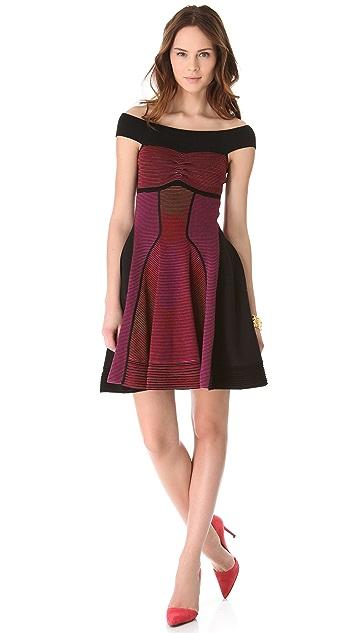 M Missoni Horizon Stripe Off the Shoulder Dress