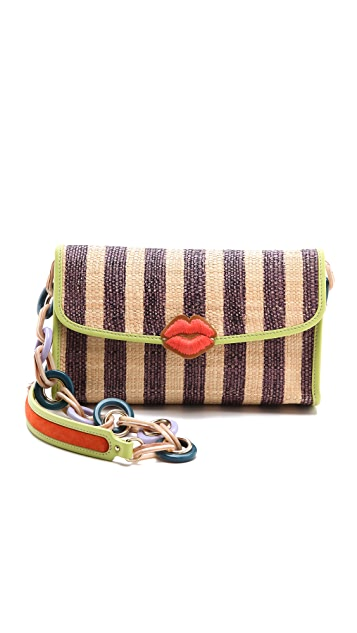 M Missoni Raffia Stripe Shoulder Bag