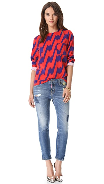 M Missoni Lightning Bolt Blouse