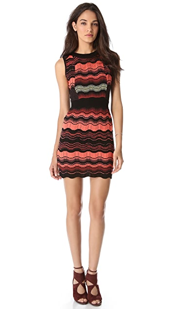 M Missoni Greek Key Mesh Stripe Dress