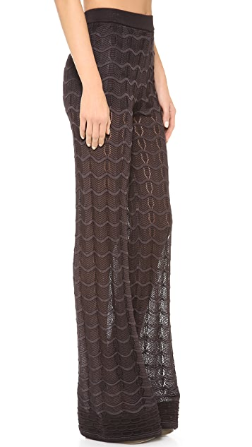 M Missoni Solid Knit High Waist Pants
