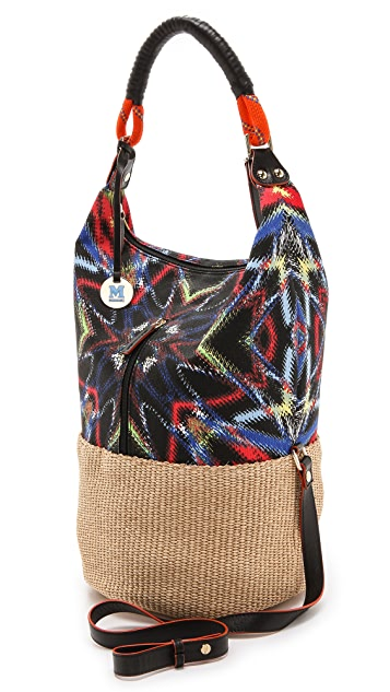 M Missoni Frequency Canvas / Raffia Bag