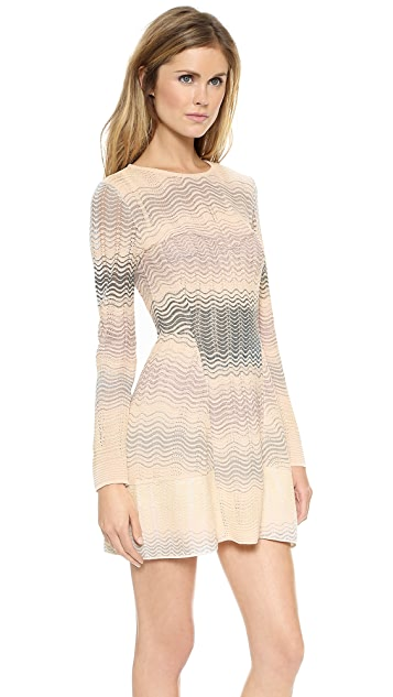 M Missoni Pointelle Ripple Knit Long Sleeve Dress
