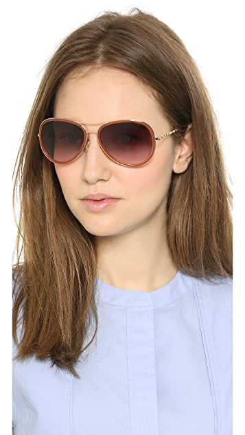 M Missoni Patterned Temple Aviators