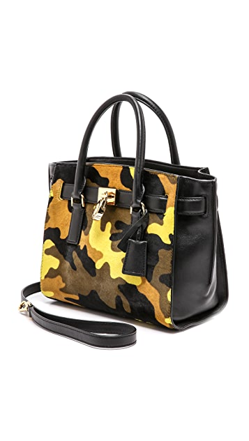 MICHAEL Michael Kors Printed Hamilton Medium Traveler Bag with Haircalf