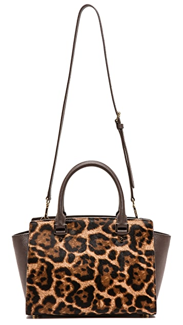 MICHAEL Michael Kors Selma Printed Haircalf Medium Two Zip Satchel