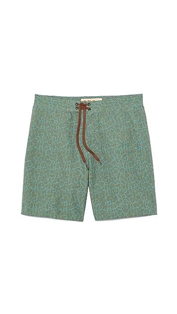 Mollusk Green Leaf Board Shorts
