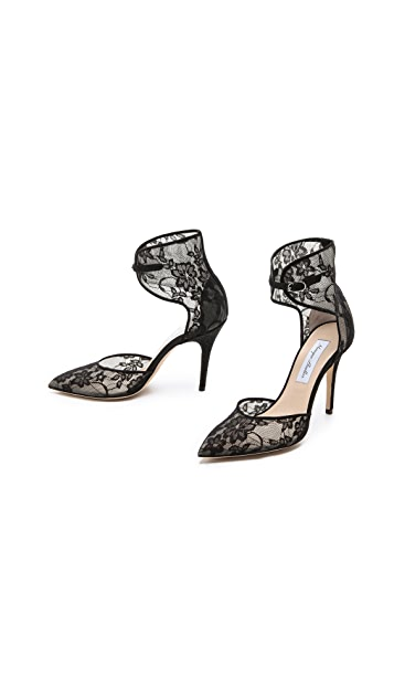 Monique Lhuillier Lace Accent Heels
