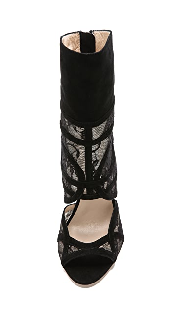 Monique Lhuillier Lace Accent Booties