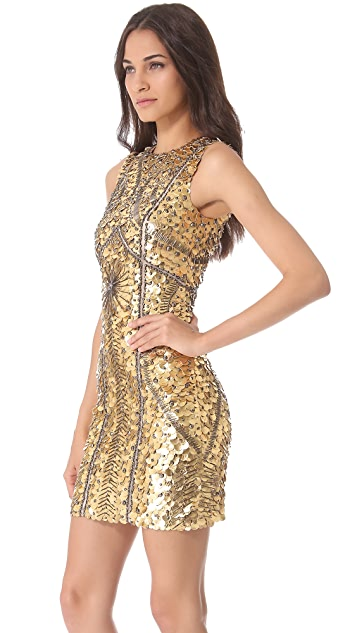Monique Lhuillier Leather Armor Sheath Dress