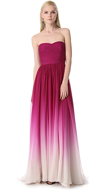Monique Lhuillier Strapless Sweetheart Gown