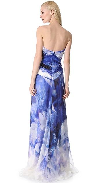Monique Lhuillier Strapless Ruched Gown