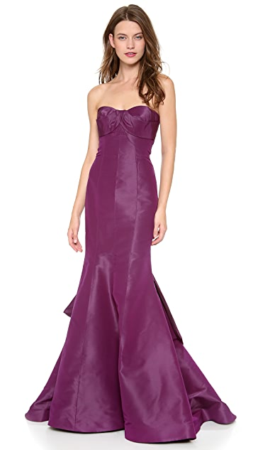 Monique Lhuillier Strapless Draped Gown