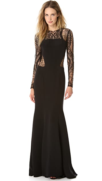 Monique Lhuillier Long Sleeve Gown with Web Lace