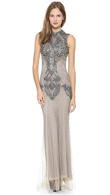 Monique Lhuillier Sleeveless Gown with High Neck