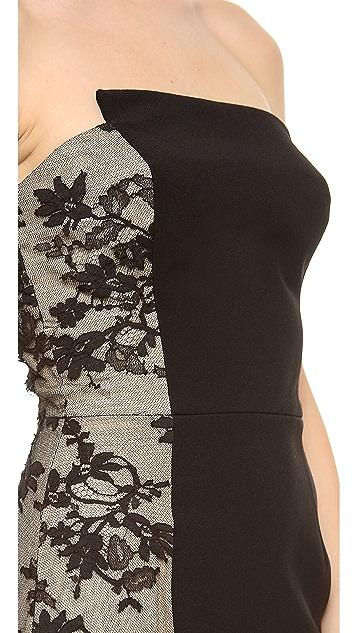 Monique Lhuillier Strapless Staggered Neckline Gown