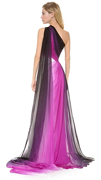 Monique Lhuillier One Shoulder Gown with Side Slit