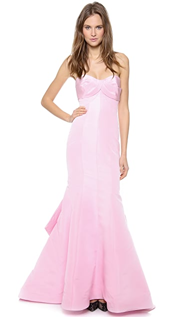Monique Lhuillier Strapless Draped Bodice Trumpet Gown