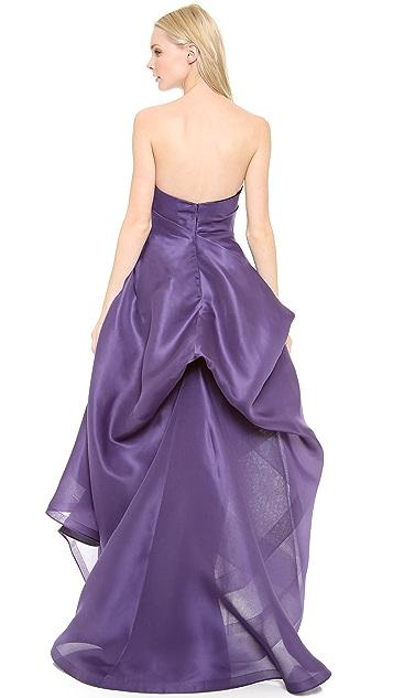 Monique Lhuillier Asymmetric Strapless High Low Gown