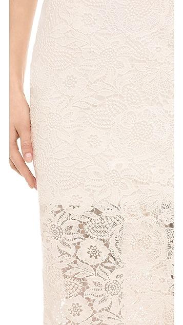 Monique Lhuillier Strapless Lace Dress